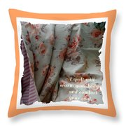 Coral Rose Quilt With Quote Throw Pillow