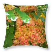 Coral Shower Tree Throw Pillow