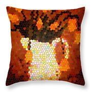 Coral Tulips In Stained Glass Throw Pillow