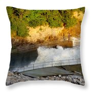 Coralville Dam At Capacity Throw Pillow