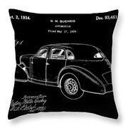 Cord Automobile Patent 1934 - Black Throw Pillow
