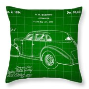 Cord Automobile Patent 1934 - Green Throw Pillow