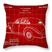 Cord Automobile Patent 1934 - Red Throw Pillow