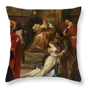 Cordelia In The Court Of King Lear, 1873 Throw Pillow