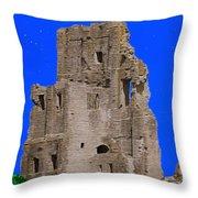 Corfe Castle Ruins Throw Pillow