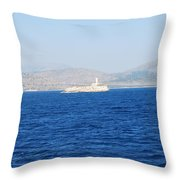 Corfu Channel Lighthouse Throw Pillow
