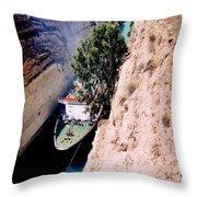 Corinth Canal Greece Throw Pillow