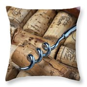 Corkscrew On Corks Throw Pillow by Garry Gay