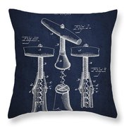 Corkscrew Patent Drawing From 1883 Throw Pillow by Aged Pixel