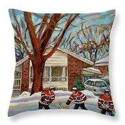 Cormac And Friends Neighborhood Hockey Game Ottawa Suburban City Scene Throw Pillow