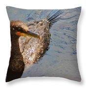 Cormorant After A Swim Throw Pillow