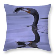 Cormorant Catch Reflection Beauty Throw Pillow