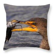 Cormorant Catching Catfish Throw Pillow