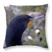 Cormorant Close-up Throw Pillow