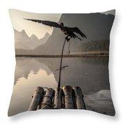 Cormorant Fishing On Li River Throw Pillow