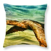 Cormorant On The Move Throw Pillow