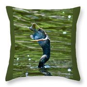 Cormorant With Catch Throw Pillow