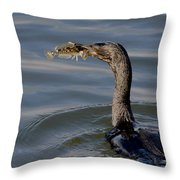 Cormorant With Fish Throw Pillow