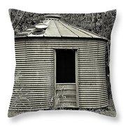 Corn Crib In Monochrome Throw Pillow