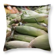 Corn On Display At Farmers Market Throw Pillow