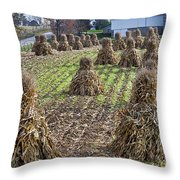 Corn Shocks Amish Field Throw Pillow