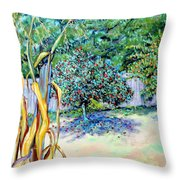 Corn Stalk And Apple Tree  Autumn Lovers Throw Pillow