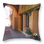 Corner Arch, Mission San Juan Capistrano, California Throw Pillow