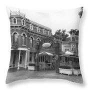 Corner Cafe Main Street Disneyland Bw Throw Pillow