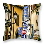 Corner Of Pensione And Bar Throw Pillow