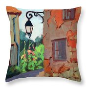 Street Corner In St. Colombe Throw Pillow