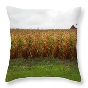 Cornfield And Farmhouse Throw Pillow