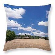 Cornfield And Finca Near Sineu Throw Pillow