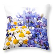 Cornflower And Chamomile Bunch Blooms  Throw Pillow
