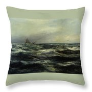 Cornish Sea And Working Boat Throw Pillow