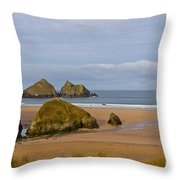 Cornish Seascape Holywell Bay Throw Pillow