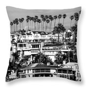 Corona Del Mar California Black And White Picture Throw Pillow