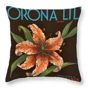 Corona Lily Crate Label Throw Pillow