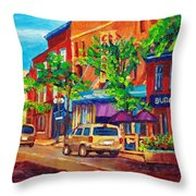 Corona Theatre Presents The Burgundy Lion Rue Notre Dame Montreal Street Scene By Carole Spandau Throw Pillow