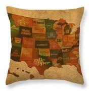 Corporate America Map Throw Pillow