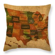 Corporate America Map Throw Pillow