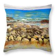 Corrimal Beach Near Towradgi Rook Pool Throw Pillow