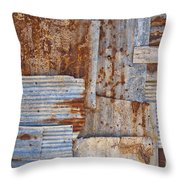 Corrugated Iron Background Throw Pillow