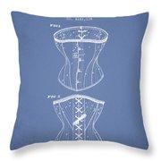 Corset Patent From 1873 - Light Blue Throw Pillow