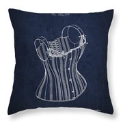 Corset Patent From 1882 - Navy Blue Throw Pillow