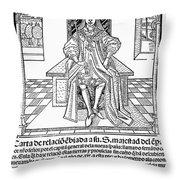 Cortes Letter, 1522 Throw Pillow
