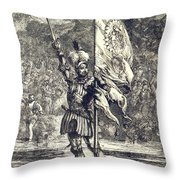 Cortez Claiming Mexico For Spain, 1519 Throw Pillow