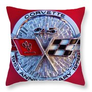 Corvette 25th Anniversary Emblem 1 Throw Pillow