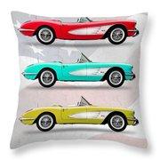 Corvette Collection Throw Pillow by Mark Rogan