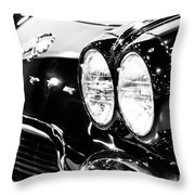 Corvette Picture - Black And White C1 First Generation Throw Pillow