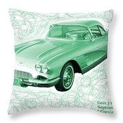 Corvette Sports Car Catus 1 No 3 Throw Pillow